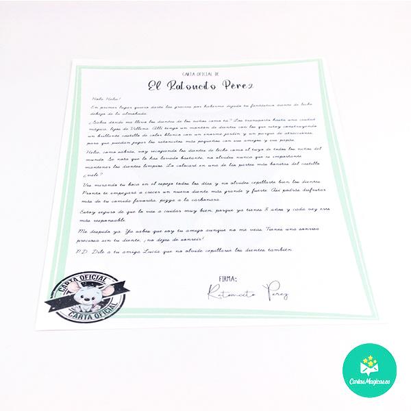 carta personalizada de Ratoncito Pérez